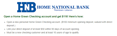 Expired IN & In Branch only Home National Bank $116 Checking