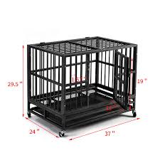 100 Steel Shipping Crates PUPZO Heavy Duty Dog Cage Crate Kennel Carbon With Four Wheels For Large Dogs Easy To Install