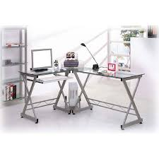 deluxe tempered glass l shaped computer desk free shipping today