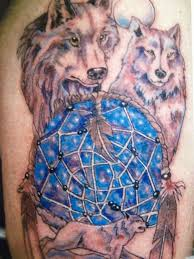 Wolves And Dreamcatcher Tattoo