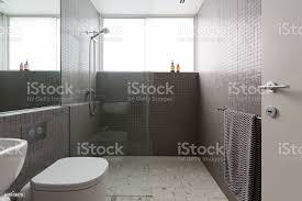 moderne begehbare dusche mit mosaikfliesen volle höhe und terrazzoboden stockfoto und mehr bilder architektur