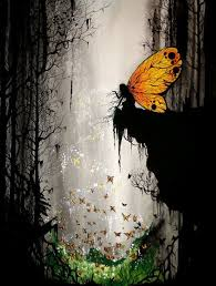 A Fairy With Golden Monarch Wings Deep In The Forest Blows Dust Upon Butterflies Below