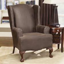 Sure Fit Folding Chair Slipcovers by Chairs Sure Fit Stretch Leather Wingback Chair Slipcover Brown