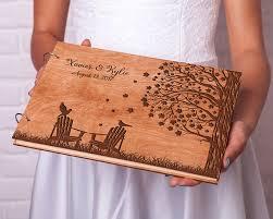 Wedding Guest Book Rustic Guestbook Wood Custom