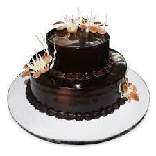 two tier chocolate cake with flowers