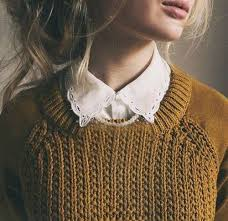 Love Golden Yellow Jumers With Pretty Lacey Collars Vintage Collar Outfit