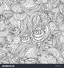 Boho Doodle Seamless Pattern Coloring Book For Adult And ChildrenColoring Page Outline