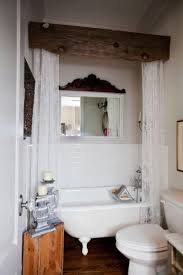 Vintage Bathroom Decor | Bathroom Upgrades | Rustic Bathroom Designs ... Bathroom Simple Valance Home Design Image Marvelous Winsome Window Valances Diy Living Curtains Blackout Enchanting Ideas Guest Curtain Elegant 25 Cool Shower With 29 Most Awesome Treatments Small Bedroom Balloon For Windows White Simple Valance Ideas Comfort Hgtv Inspirational With Half Bath Bathrooms Window Treatments