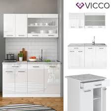 vicco küchenzeile single einbauküche 140 cm küchen weiß hochglanz r line