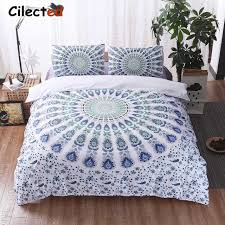 Cilected Bohemian Bedding Set Purple White Blue Mandala Duvet