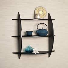 Wall Wood Shelves Home Living Room Decor 3 Tier Half Moon Shelf Unit Black