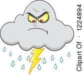 Clipart Of An Angry Lightning Storm Cloud Mascot Royalty Free Vector Illustration By Hit Toon