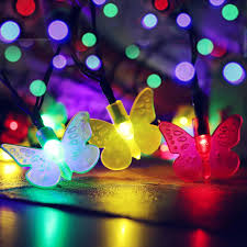 SOCO Outdoor Solar Rope Lighting Christmas Decorations Led Light Colorful Changing Butterfly String New Arrival
