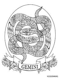 Gemini Zodiac Sign Coloring Book For Adults Vector Illustration Anti Stress Adult Black And White Lines