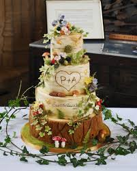 Midsummer Nights Dream Enchanted Forrest Birch Bark Tree Log Wedding Cake