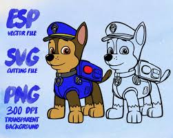 Chase Paw Patrol Clipart SVG Cutting ESP Vectors files T