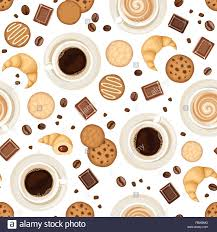 Seamless Background With Coffee Cups Beans Cookies Croissants And Chocolate Vector Illustration