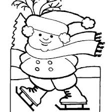 Fat Little Girl Playing Ice Skates On Frozen Winter Lake Coloring Page