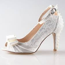 Handmade sweet white lace shoes with satin bow med heels wedding