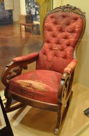 Henry Ford Museum (Original Chair In Which President Lincoln ... Rocking Chair In Lincoln Lincolnshire Gumtree Tells A Story Beyond The Assination Abraham From Fords Theatre Before Cherry Rocker Classic Rock Antiques Lincoln Rocker Arthipstory Showing Photos Of Upcycled Chairs View 1 20 Antique 1890 Victorian Wood Cane Back All Re A 196070s Rocking Designed By Torbjrn President Was Assinated This Today Lincolns Placed Open Plaza Antiquer Reupholstery On Wheels 1880 German Bible My First
