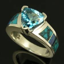 Blue Topaz Spiderweb Turquoise and Australian Opal Ring