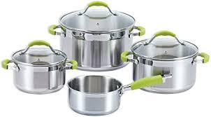 roller 7 teiliges topfset silber grün de küche