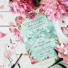 Beautiful Rustic Flowers With Mint Background Wedding Day Invitation Ribbon