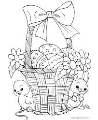 Duck And Mouse With Egg Basket Coloring Pages Easter