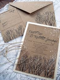 Winter Wedding Invitations Rustic Tree Hand Stamped And Painted Invitation Stationery Sample