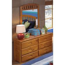 6 Drawer Dresser With Mirror by 6 Drawer Honey Pine Wood Dresser Mirror Set Free Shipping Today