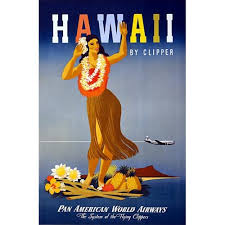 Hawaii By Clipper Hula Pan Am Vintage Travel Poster