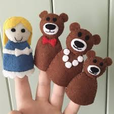 Set Of 4 Finger Puppets From Classic Fairy Tale Goldilocks And The Three Bears Includes Papa Bear Mama Baby Made Soft Felt