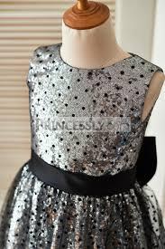 silver sequin black polka dot tulle wedding flower dress with