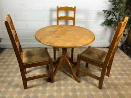 Farmhouse Style Small Round Dining Kitchen Table With 3x Wicker Seat Chairs  | In Colchester, Essex | Gumtree