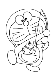 Cartoon Coloring Pages Doraemon Fishing