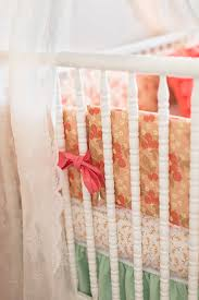 Coral And Mint Crib Bedding by Pretty As A Peach Baby Bedding Lottie Da Baby Baby Bedding