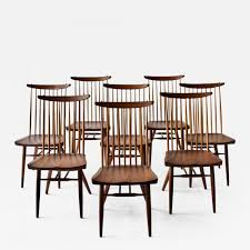George Nakashima - Set Of Eight George Nakashima Dining Chairs 151 Orge Nakashima Conoid Ding Chairs Pair Important Design 1950s Vintage George Nakashima New Chair Ding Set Of Six Table The Arts Style Chairs In The Manner 6 Black Walnut Grass Seat Straightback Beautiful Suite Four Designed After Knoll Straight Walnut Tables Moderne Gallery Trestle With Rosewood Butterfly Joints