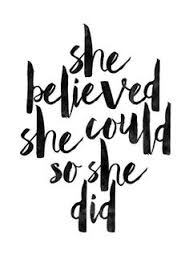 She Believed Could So Did Printable Art Inspirational Print Typography Quote