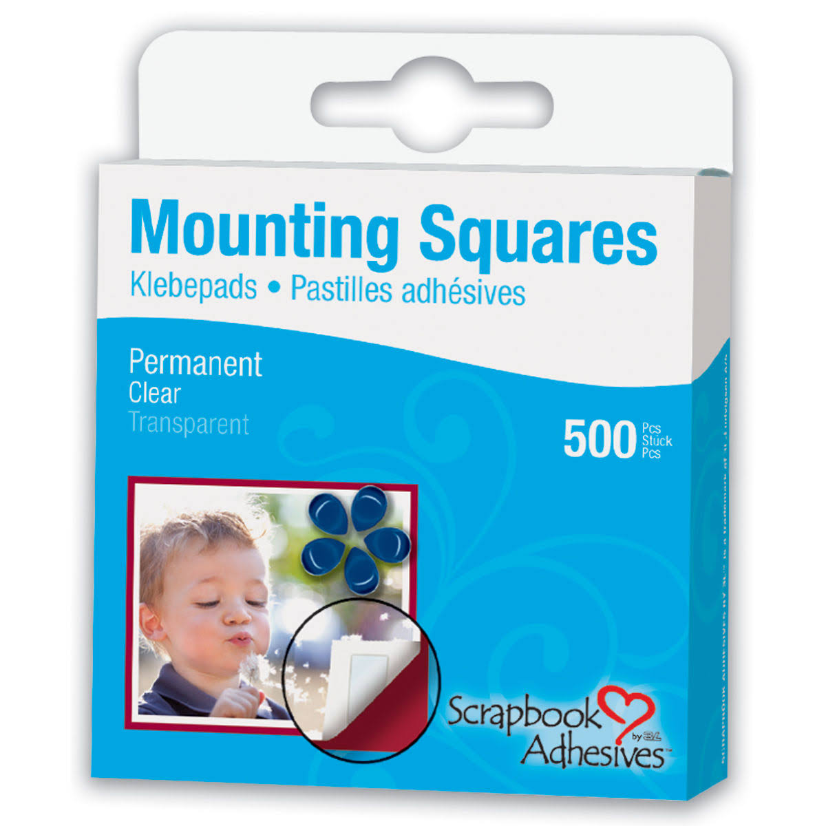 "3L Scrapbook Adhesives Permanent Mounting Squares - Half-Size, 1/2"" x 1/4"", 500pk, Clear"
