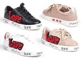 Damen Trend Sneaker Love Patches Sticker Glitzer Glanzend Schnur