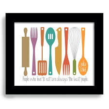 Kitchen Art Print Mid Century Modern Decor Colorful Cooking Fork And Spoon Chef Utensils Wall