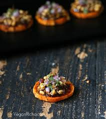 baked canapes potato canapes with barbecue mung bean sprouts vegan