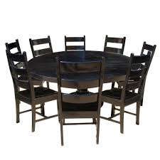 Rustic Solid Wood Black Round Dining Table Chair Set ... Ding Room Circular 10 Gorgeous Black Tables For Your Modern Pulaski Fniture The Art Of 7 Piece Round Table And Best Design Decoration Channel Really Inspiring Creative Idea House By John Lewis Enzo 2 Seater Glass Marble Kitchen Sets For 6 Solid Wood Island Mahogany Zef Set Kitchens Sink Iconic 5 Deco Double Xback Antique Grey Stone 45 X 63 Extra Large White Corian Top Chairs 278 Rooms With Plants Minimalists Living