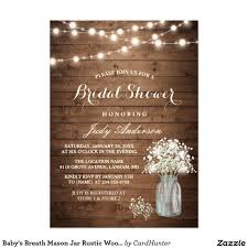 BRIDAL SHOWER Babys Breath Mason Jar Rustic Chic Barn Wood Bridal Shower Invite Announcement Invitation