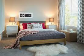 Gray And Red Bedroom With Fur Rug