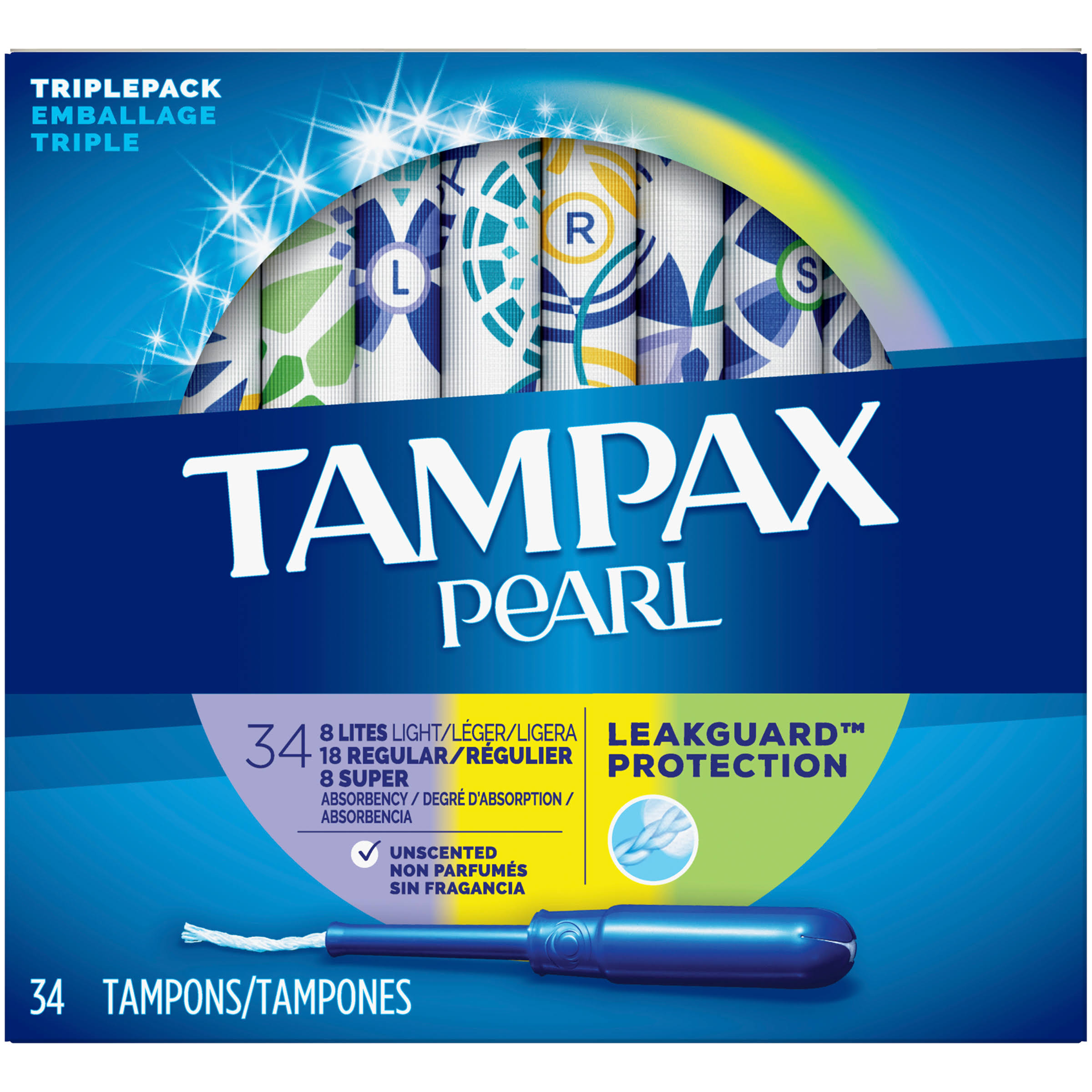 Tampax Pearl Plastic Tampons - Triple Pack with Light, Regular and Super Absorbency, Unscented, 34ct