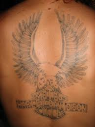 Harley Davidson Grey Ink Logo Tattoo On Back