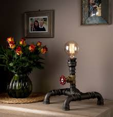 Cool Dining Room Light Fixtures by Steampunk Pipe Table Lamp Industrial Style Modern Handmade In Uk