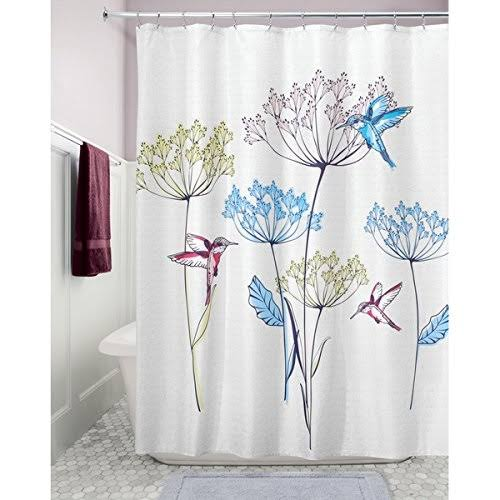 Interdesign Hummingbird Fabric Shower Curtain 72 inch x 72 inch; Multicolor