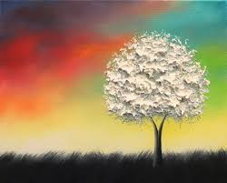Contemporary White Tree Oil Painting Original Canvas Art Colorful Black And 8x10